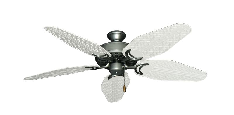 "Picture of Dixie Belle Brushed Nickel with 52"" Outdoor Weave Pure White Blades"