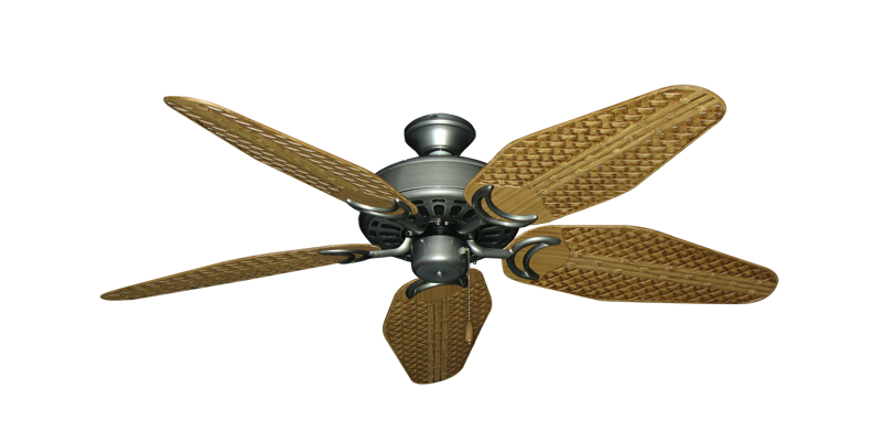 """Dixie Belle Brushed Nickel with 52"""" Outdoor Weave Walnut Blades"""