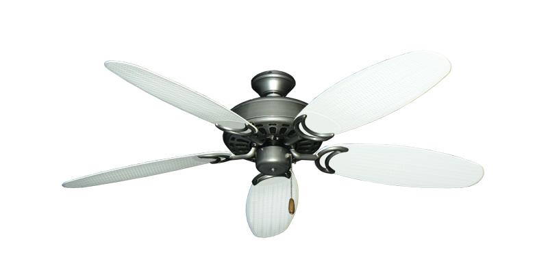 """Dixie Belle Brushed Nickel with 52"""" Outdoor Wicker Pure White Blades"""