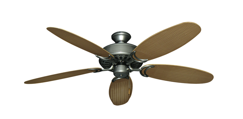"""Picture of Dixie Belle Brushed Nickel with 52"""" Outdoor Wicker Tan Blades"""
