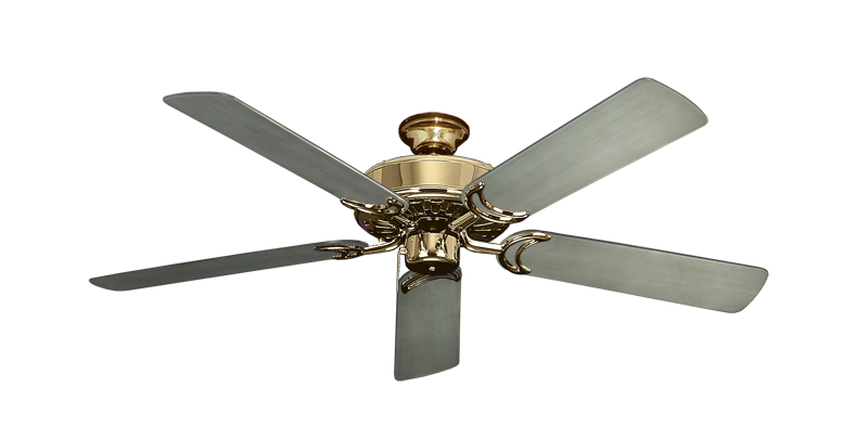 """Picture of Dixie Belle Bright Brass with 52"""" Outdoor Brushed Nickel BN-1 Blades"""
