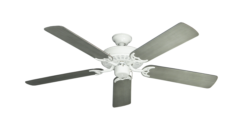 """Bimini Breeze V Pure White with 52"""" Outdoor Brushed Nickel BN-1 Blades"""