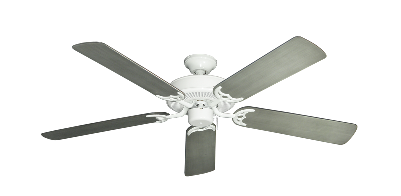 """Bermuda Breeze V Pure White with 52"""" Outdoor Brushed Nickel BN-1 Blades"""