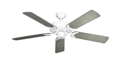 """Picture of Patio Fan Pure White with 52"""" Outdoor Brushed Nickel BN-1 Blades"""