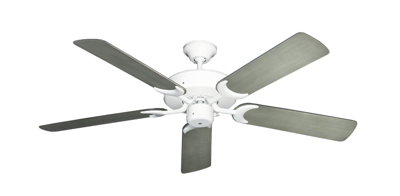 "Picture of Patio Fan Pure White with 52"" Outdoor Brushed Nickel BN-1 Blades"