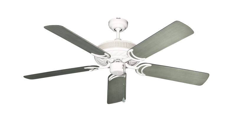 """Picture of Atlantis Pure White with 52"""" Outdoor Brushed Nickel BN-1 Blades"""