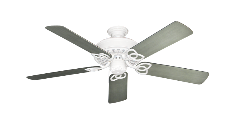 """Picture of Renaissance Pure White with 52"""" Outdoor Brushed Nickel BN-1 Blades"""