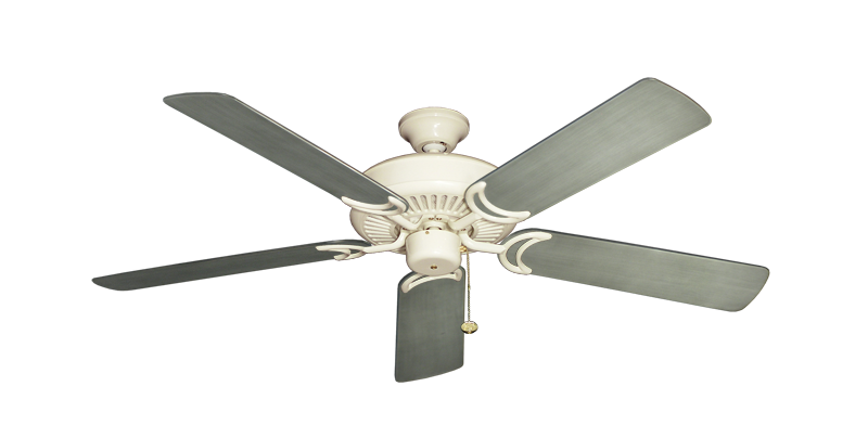 """Picture of Riviera Antique White with 52"""" Outdoor Brushed Nickel BN-1 Blades"""