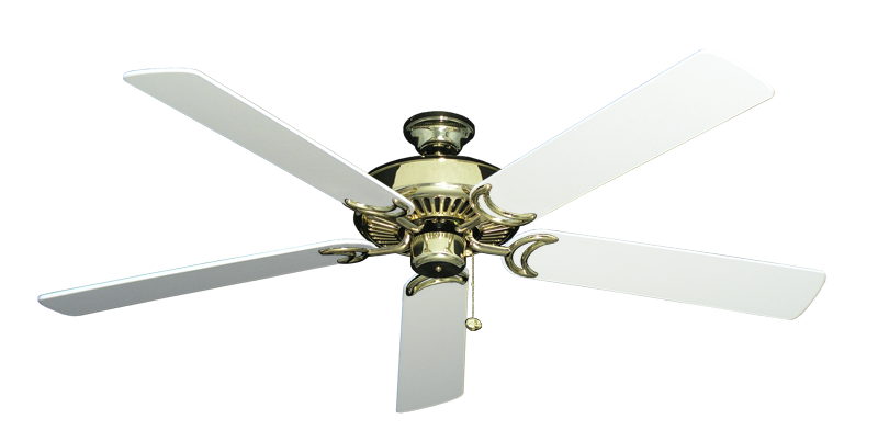 """Picture of Riviera Bright Brass with 60"""" Pure White Blades"""