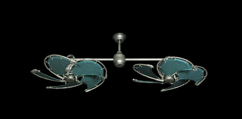 "Twin Star III Brushed Nickel with 30"" Nautical Fabric Green Blades"
