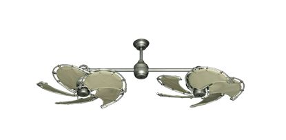 "Picture of Twin Star III Brushed Nickel with 30"" Nautical Fabric Khaki Blades"