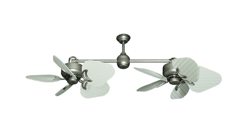 """Twin Star III Brushed Nickel with 30"""" Nautical Fabric Pure White Blades"""