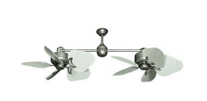 "Twin Star III Brushed Nickel with 35"" Leaf Pure White Blades"
