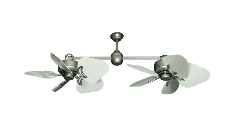 """Twin Star III Brushed Nickel with 35"""" Leaf Pure White Blades"""