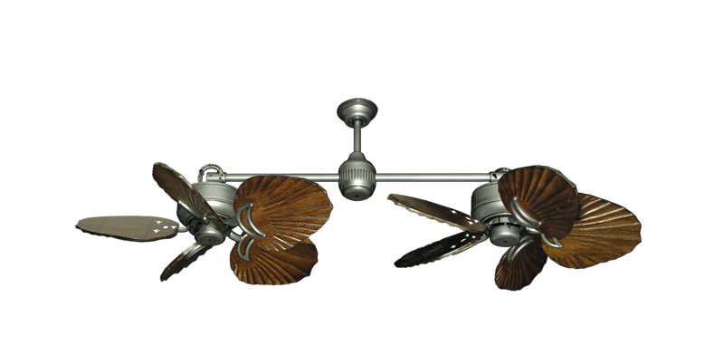 """Picture of Twin Star III Brushed Nickel with 35"""" Series 600 Arbor Dark Walnut Blades"""