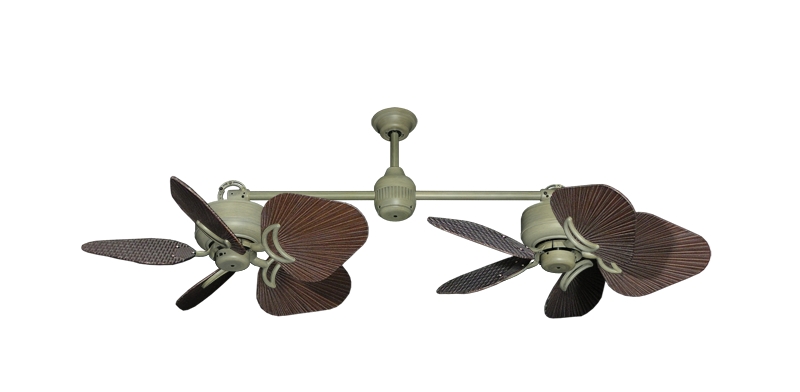 """Twin Star III Driftwood with 35"""" Leaf Oil Rubbed Bronze Blades"""