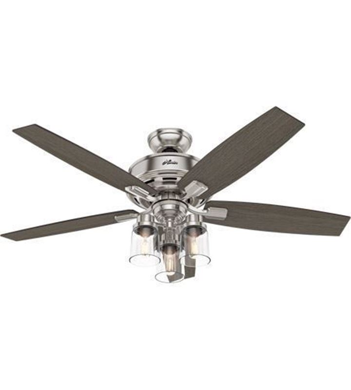 """Picture of Hunter  52"""" Bennett Brushed Nickel Ceiling Fan with LED Light and Handheld Remote, Model 54190"""