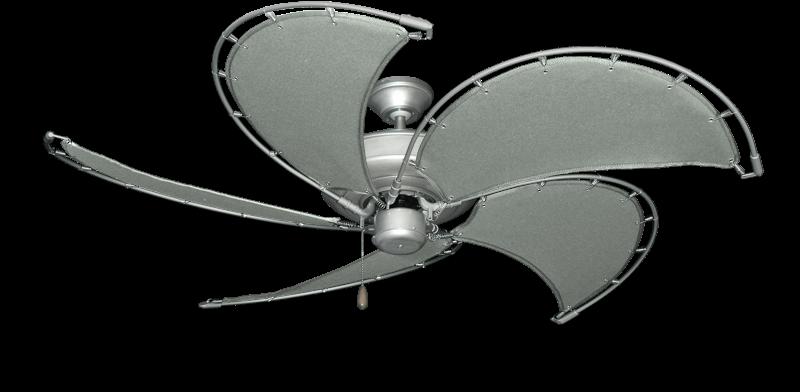 "Raindance Brushed Nickel BN-1 with 52"" Nautical Fabric Gray Blades"