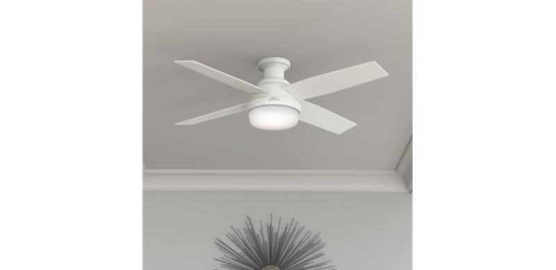 """Hunter 52"""" Dempsey with Light Fresh White Ceiling Fan with Light with Handheld Remote, Model 59217"""