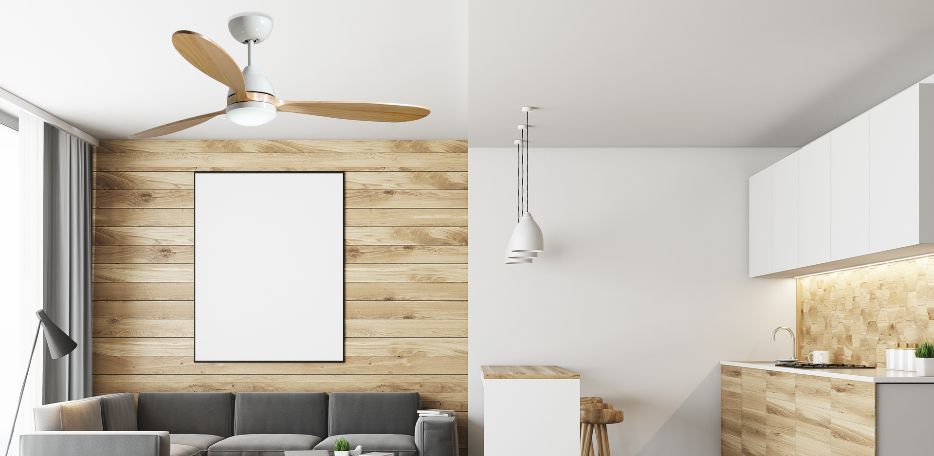 "Koho 52"" Indoor Contemporary Pure White Ceiling Fan with LED Light and Remote"