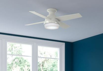 "Hunter 44"" Dempsey Low Profile with Light Fresh White Ceiling Fan with Light with Handheld Remote, Model 59244"