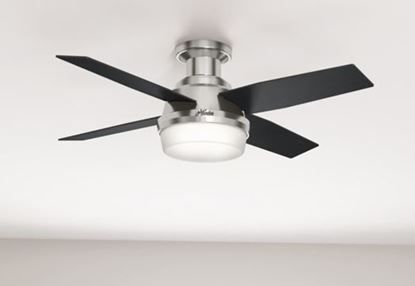 "Hunter 44"" Dempsey Low Profile with Light Brushed Nickel Ceiling Fan with Light with Handheld Remote, Model 59243"