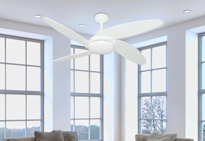 """Tuscan 52"""" Indoor Contemporary Pure White Ceiling Fan with LED Light and Remote"""